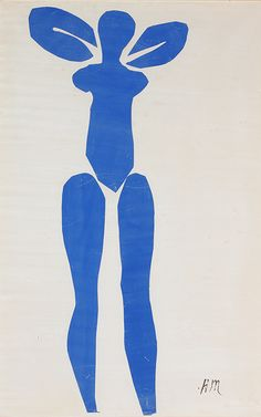 1952 Henri Matisse 'Standing Blue Nude', cut and pasted painted papers. The Met, The Pierre and Maria-Gaetana Matisse Collection, Accession No.: Rights and Reproduction:© 2018 Succession H. Matisse / Artists Rights Society (ARS), New York Henri Matisse, Matisse Art, Pablo Picasso, Painted Paper, Art Plastique, Vincent Van Gogh, Kandinsky, Oeuvre D'art, Painting & Drawing