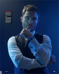 Starring in a new photo shoot, Ed Westwick dons a Jaeger-LeCoultre watch with a waistcoat and shirt by Dolce & Gabbana.