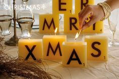 SCRABBLE CANDLE, all the letters, by Cerabella
