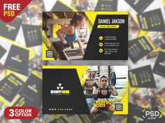 Fitness Gym Trainer Business Card PSD - PSD Zone Gym Trainer, Free Business Cards, Muscle Fitness, Hello Everyone, Gym Workouts, Trainers, Free Fitness, Photoshop