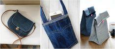 Comment faire un sac en jean - patrons gratuits, tutos et idées de décoration ! Diy Jeans, Recycle Jeans, Diy Sac Bandoulière, Pochette Portable, Jean Diy, Coin Couture, Denim Bag, Free Pattern, Tote Bag