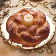 Brandied apricots are tucked inside a sweet cardamom bread that's shaped in a wreath and sprinkled with pearl sugar.