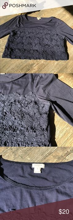 JCREW Navy 3/4 Sleeve Eyelet Top Cute j.crew navy eyelet top with 3/4 sleeves. Worn with love but in nice condition. Some strings in the eyelet are looser than others, but none are missing of broken. 100% cotton and lightweight making it perfect for fall days. Sleeves are 3/4 and stop midway between elbow and wrist.very cute for a casual day or worn with work pants for a stylish look. J. Crew Factory Tops