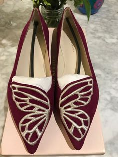 NEW IN BOX Sophia Webster Winter Cherry Suede Bibi Butterfly Ballet Flats -  41.0  fashion 2c1d3a30f4b20