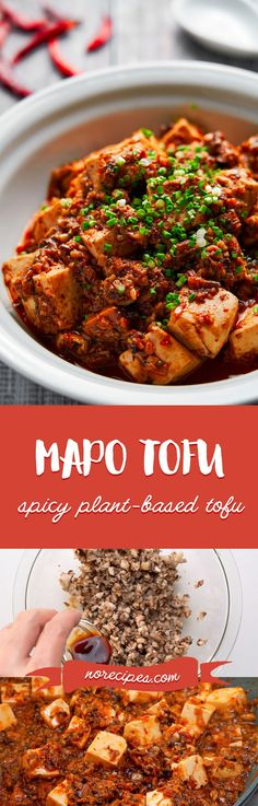 With creamy blocks of tofu smothered in a fragrant spicy sauce made from ground mushrooms, this Vegan Mapo Tofu recipe is just as comforting and flavorful as the original. Tofu Recipes, Vegetarian Recipes, Dinner Recipes, Potluck Recipes, Delicious Recipes, Sweet Recipes, Yummy Food, Chili Bean Paste, Kitchens