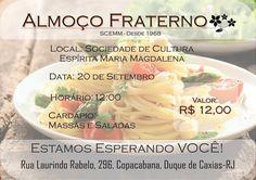 Sociedade de Cultura Espírita Maria Magdalena Convida para o seu Almoço Fraterno - Duque de Caxias - RJ - http://www.agendaespiritabrasil.com.br/2015/09/15/sociedade-de-cultura-espirita-maria-magdalena-convida-para-o-seu-almoco-fraterno-duque-de-caxias-rj/