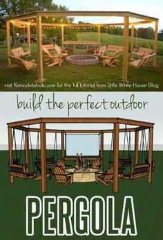 Build the perfect pergola! Learn to DIY this beautiful circular pergola with a c. Build the perfect pergola! Learn to DIY this beautiful circular pergola with a central firepit, swings, and Adirondack chairs - Little White House Blo.