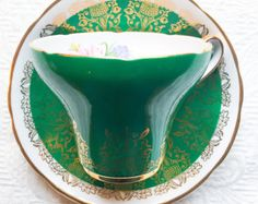 Gorgeous Gilded Green Royal Stafford 1940's Teacup and Saucer - Edit Listing - Etsy