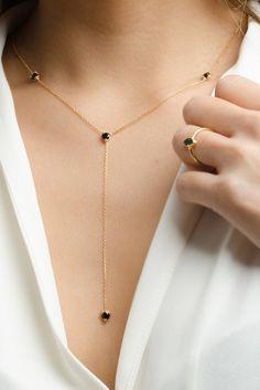 Gemstone Lariat Necklace - Black CZ Necklace - Layering Necklace - Dainty Y Neck. - Gemstone Lariat Necklace – Black CZ Necklace – Layering Necklace – Dainty Y Necklace – Cubi - Dainty Jewelry, Cute Jewelry, Gold Jewelry, Jewelry Necklaces, Women Jewelry, Gold Bracelets, Diamond Earrings, Diy Earrings, Cartier Jewelry