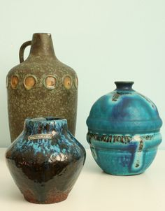 Featuring here are three vases by Cermano from the 1960s. This German company was founded in 1959 and stayed in business till 1984. Their aim was to make art pottery that resembled studio pottery, but they made it with the modern, technological means of the times. Hans Welling was their key designer from 1959 till 1961 and after that Gerda Heuckeroth took over..jpg (2531×3248)
