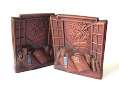 Vintage Syroco Book Ends Books With Open Window Motif