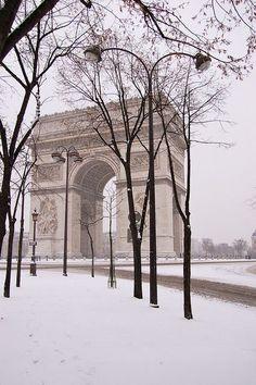 Snow in Paris, France