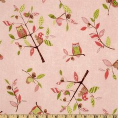 owl fabric | Squirrel & Owl Tree Toss Fabric