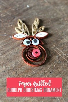 Paper Quilled Rudolph Reindeer Ornament - paper quilling is easier than it looks. I even offer ideas on alternate supplies you can use. Make this adorable Christmas ornament in about 15 minutes. Paper Quilling Earrings, Quilling Work, Paper Quilling Patterns, Quilling Paper Craft, Quilling Cards, Paper Crafts, Paper Art, Quilling Christmas, Christmas Crafts