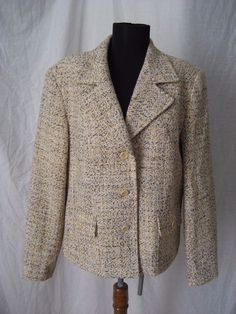 Talbots Italian Fabric Woven Wool Blend Tweed Brown Multi-color Blazer Jacket 14 #Talbots #Blazer