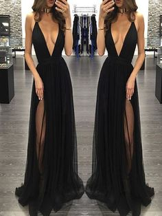 Sexy Prom Dress,Sleeveless Black Prom Dresses with Slit,Backless