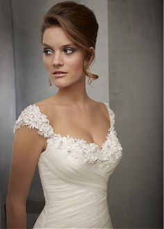 Buy discount Elegant Tulle Square Neckline Natural Waistline A-line Wedding Dress With Beaded Lace Appliques at Dressilyme.com