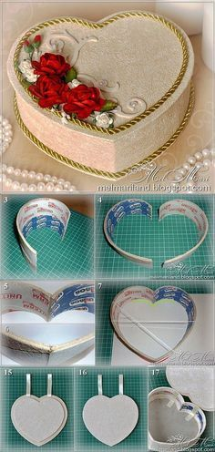 "DIY Heart Box, made from large recycled tape ""reels"". Hobbies And Crafts, Diy And Crafts, Crafts For Kids, Arts And Crafts, Diy Gift Box, Diy Gifts, Cardboard Crafts, Paper Crafts, Diy Recycling"