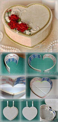 Шкатулка в форме сердца из бобин от скотча | Самоделкино | поделки | Постила