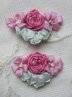 4pc Vintage Chic Rose PINK Silk Ribbon by delightfuldesigner