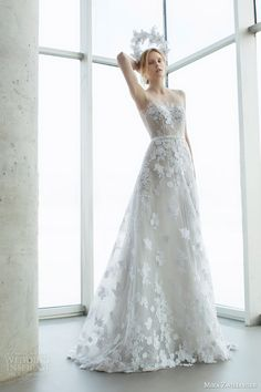 Top 50 Most Popular #Bridal Collections on Wedding Inspirasi in 2015:  http://www.weddinginspirasi.com/2015/12/29/top-50-most-popular-bridal-collections-on-wedding-inspirasi-in-2015/  mira zwilinger bridal 2016 stardust alpha sleeveless light grey organza wedding dress guipure lace sequis illusion neckline