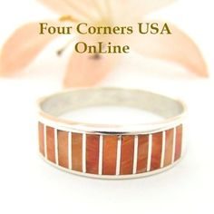 Four Corners USA Online - Size 10 1/4 Orange Spiny Oyster Inlay Band Ring Native American Ella Cowboy Silver Jewelry WB-1511, $121.00 (http://stores.fourcornersusaonline.com/size-10-1-4-orange-spiny-oyster-inlay-band-ring-native-american-ella-cowboy-silver-jewelry-wb-1511/)