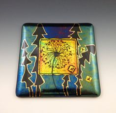 Art Glass Wall Tile Dandelion Golden Red by LivingOnTheEtch Fused Glass Jewelry, Fused Glass Art, Glass Wall Art, Dichroic Glass, Glass Fusing Projects, Golden Red, Plate Hangers, Tile Installation, Gold Paint