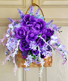 Purple Flower Arrangements, Sunflower Centerpieces, Rose Centerpieces, Flower Arrangements In Baskets, Lavender Flowers, Purple Roses, Pink Flowers, Mothers Day Flowers, Hanging Baskets