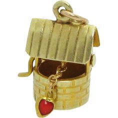 Vintage 14K Gold Mechanical Wishing Well Charm w/Enameled Heart Sloan & Co. Newark, NJ 1930s..