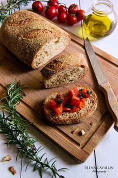 Bread, italian food, bruschetta, food photography