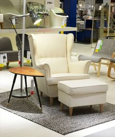 """sweet new little """"strandmon"""" wingback chair at ikea Strandmon Chair, Wingback Chair, Armchair, Wing Chair, Outdoor Furniture Sets, Outdoor Decor, Two Bedroom, First Home, Decoration"""