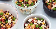 Der frugt og grønt i mange farver og selvfølgelig linser i denne fyldige salat, der for hver mundfuld giver masser af forskellige smagsindtryk.