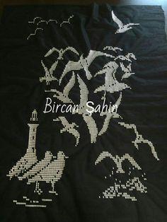Marine Style, Bargello, Embroidery Stitches, Needlework, Allah, Birds, Black, Embroidery, Dressmaking
