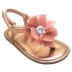 Toddler shoes > girls sandals. Kids fashion from Stuart Weitzman. Adorable silk t-strap with dusty pink flower embellishment!