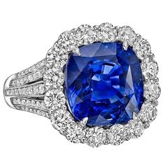 Robert Procop 9.10 Carat Ceylon Sapphire Diamond Platinum Ring | From a unique collection of vintage cocktail rings at https://www.1stdibs.com/jewelry/rings/cocktail-rings/