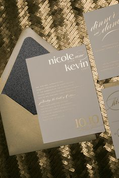 Fabulous Black and Gold Foil Stamped Sparkly Glitter Wedding Invitations by Just Invite Me