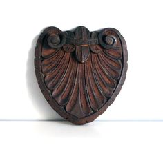 Carved Wood Pediment, Mahogany Crest, Architectural Salvage, Rustic Decor, Vintage Wall Hanging, Assemblage Supplies, Hand Carved Wood ($50) found on Polyvore