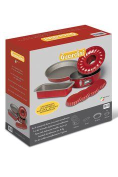 Venda Guardini / 7981 / Cozedura Aço / Conjuntos / Conjunto de 8 Peças Antracite e Vermelho. De 30e por 15e.