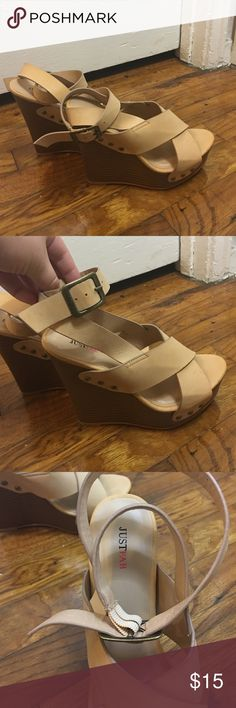 """JustFab Marcy Wedges Natural (tan) colored wedges with buckle and studs details. 5"""" heel. Never worn condition. JustFab Shoes Wedges"""