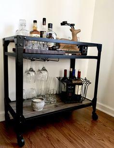 Farmhouse Bar Cart Industrial Rustic Wood Metal Beverage Cart Simple