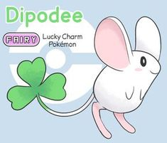 Dipodee is a Fakémon from the collaborative project, 'PokéJAM! Dipodee, the Lucky Charm Pokémon Type: Fairy Abilit. Pokemon Show, Pokemon Fake, Pokemon Fusion Art, Pokemon Eevee, Pokemon Funny, Pokemon Stuff, Evoluções Eevee, Eevee Evolutions, Pokemon Images
