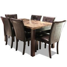 CROWN MARK BRUCE EXPRESSO TABLE SET - Dining Sets - Dining Gallery Furniture