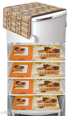 Checkout this latest Fridge Cover Product Name: *Stylish Fridge Covers & Fridge Mat* Material: Fridge Mat - PVC  Fridge Top Cover - Knitting Size(L X W): Fridge Mat: 45 cm X 30 cm Fridge Top Cover - 97 cm X 55 cm Description: It Has 1 Piece Of  Fridge Top Cover & 4 Piece Of Fridge Mat Work: Printed Country of Origin: India Easy Returns Available In Case Of Any Issue   Catalog Rating: ★4 (831)  Catalog Name: New Stylish Fridge Covers & Fridge Mats Vol 20 CatalogID_744121 C131-SC1623 Code: 281-5057428-543