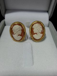 Handcrafted Cameo Silver (Gold plated) Earrings.  Cameo, is defined as an ornament carved in a high-quality material such as stone, shell, coral, Gutta-percha, bog oak, ivory, lava, or mother-of-pearl.