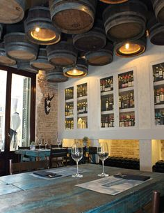 Casa Guinart Restaurant's Wine Barrel Ceiling Lamps - 4