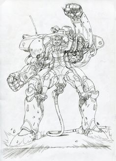 Nadja Schrodinger MADE IN POLAND conscious about the mech is not copying so good the moves of the pilot, but is a very old and defect. Mech Pilot Academy - old Basic Training Mech - ink Character Concept, Character Design, Fighting Drawing, Masamune Shirow, Fighting Robots, Predator Alien, Sci Fi Armor, Concept Weapons, Alien Art
