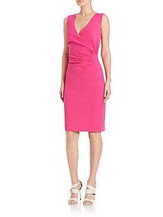 Diane von Furstenberg Layne Surplice Jersey Dress - Vivid Pink - Size