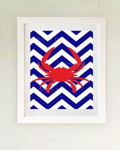 Nautical Crab Art  Print 'Modern Art Prints 8 x 10 by HappyBrat
