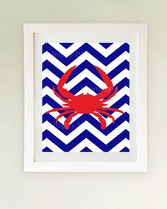 Nautical Crab Art  Print 'Modern Art Prints 8 x 10 by HappyBrat