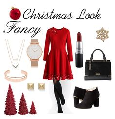 """Fancy Christmas Look"" by drea-santana on Polyvore featuring Dot & Bo, Kurt Adler, ASOS, Chicwish, Kate Spade, Dune, Michael Kors, Leith, Larsson & Jennings and MAC Cosmetics"